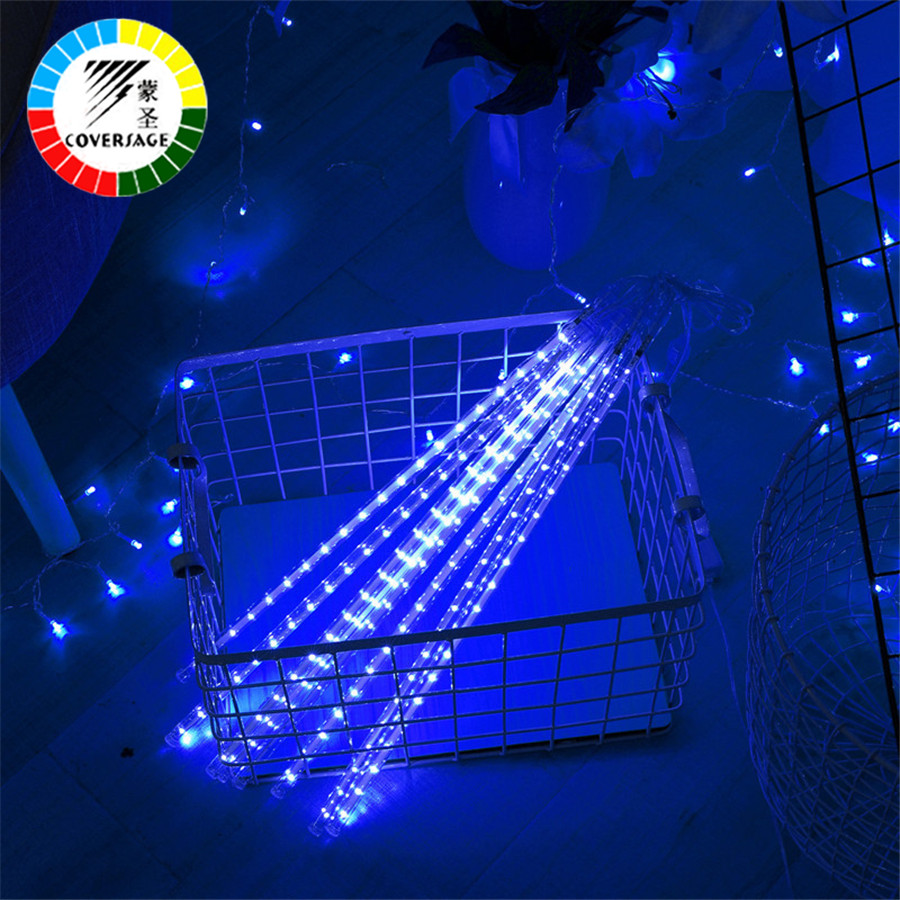 Coversage Meteor Shower Rain Tube 30CM 50CM 5Pcs Christmas Tree Decorative Luces Curtain Outdoor Lights Xmas Led String Light