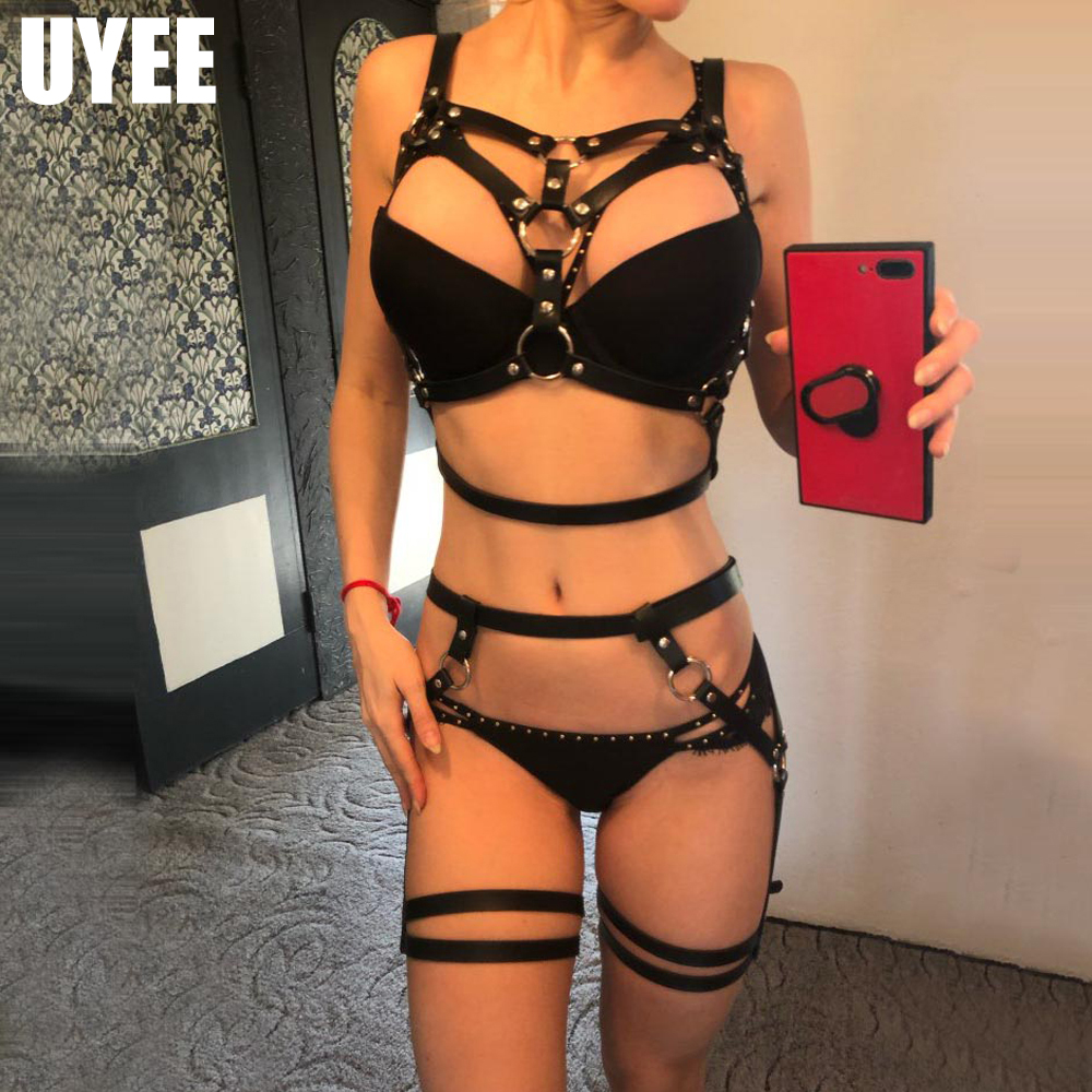 UYEE 2PCS Women's Crop Top Stockings Body Bondage Lingerie Garter Sets Strappy Belt Erotic Fetish Restraint Harness Stockings