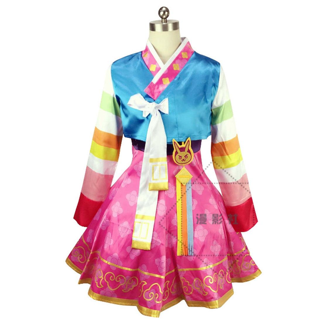 OW DVA Korea Hanhok Dress Cosplay Costume Wig Outfit