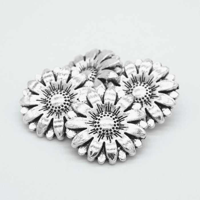 Arts Crafts Buttons shank 18mm antique silvery sunflower for sweater coat shirt jacket handmade Gift Box DIY Sewing accessories