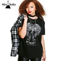 MissKoKo 2017 Big Size New Fashion Women Clothing Casual Letter Print Basic T Shirt O Neck