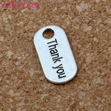 Hot ! 150 Pcs Antiqued Silver Alloy Single-sided Thank You Brand Charm Pendants 9x18mm DIY Jewelry A-158