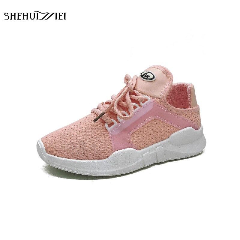 SHEHUIMEI Women Flats 2018 Spring High Quality Flat Platform Women Shoes Women Sneakers Fashion Lace-up Women Flats Shoes