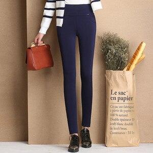Image 2 - Pantalon épais en velours pour femmes, chaud, extensible, taille haute, Pantalon de bureau, polaire, hiver 2016