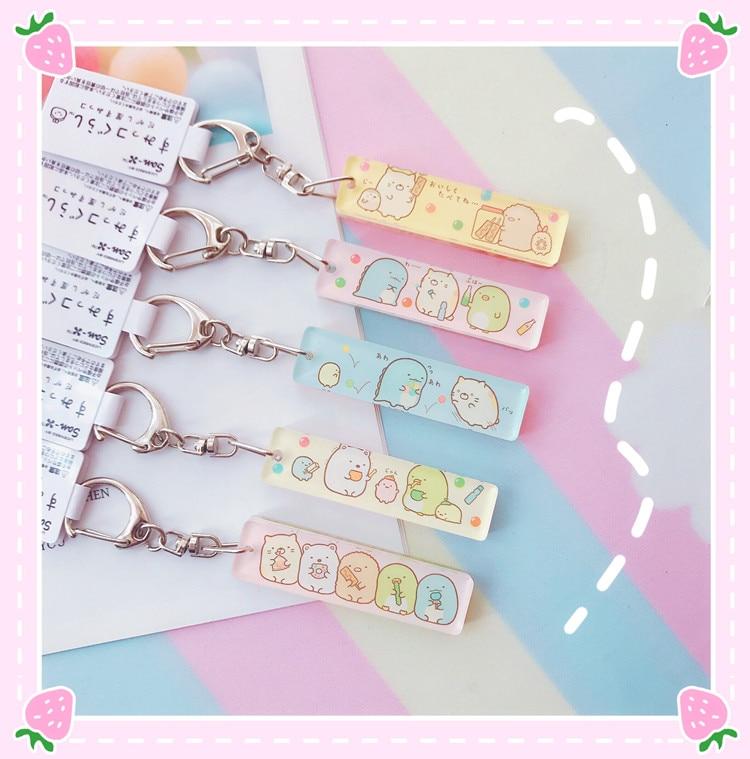 1PC Lovely Japanese Acrylic Sumikko Gurashi Keychain Double-sided Anime Bags Pendant Girls Gifts