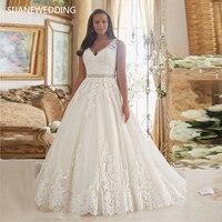 SIJANE винтаж плюс размеры Свадебные платья кружево бисером Vestidos de Novia пикантные бальное платье свадебное Robe de mariage 0738
