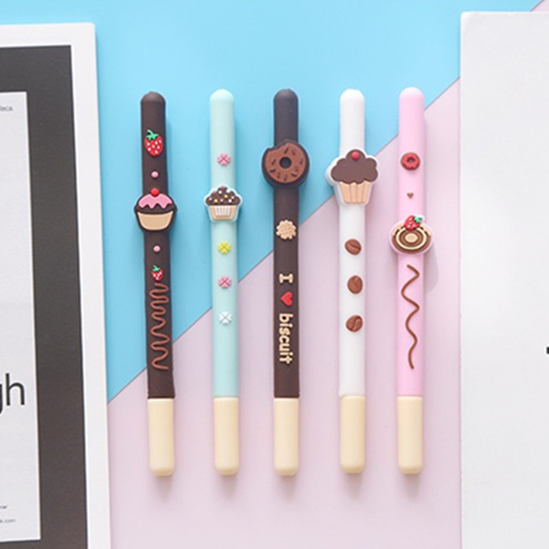20 Pcs/Lot Chocolate Biscuit Pen Mini Cake Donuts 0.5mm Ballpoint Black Color Gel Pens Stationery Office School Supplies F710
