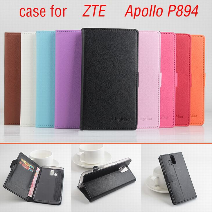 9 Colors Luxury mobile phone Leather Case For ZTE Apollo P894 / P 894 Flip Cover Case With Card Slot Cellphone shell housing