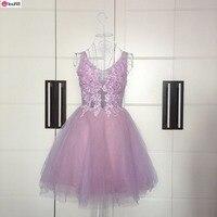 Nifty Bride Princess Lace V neck Backless Pink Short Style Bridemaid Dress/Party Dress 259
