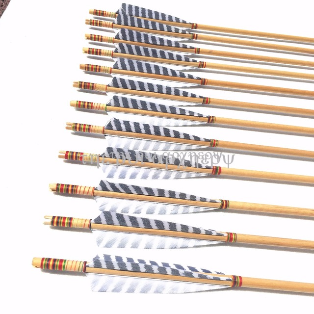For Recurve/Compound or Long Bow 6/12/24pcs Premium Wood Arrows with Turkey Feathers & Stainless Steel Field Points