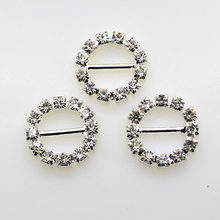 Hot Offer15mm (Inner Bar 10mm) 10Pcs/Lot Round Crystal Rhinestone Buckle Invitation Ribbon Slider For Wedding Silver Accessories(China)