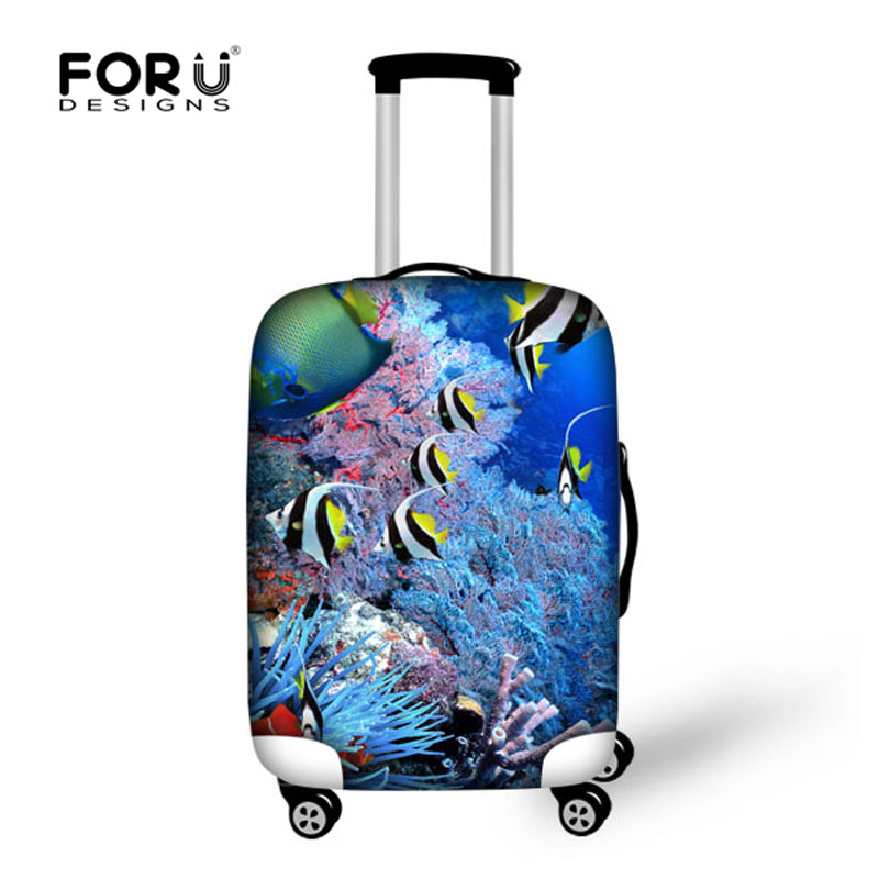 Cute Sea Animal Tropical Fish Print Elastic Luggage Protective Covers Elastic Waterproof Dustproof Cover for 18-30 Inch Suitcase