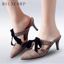 Plus size 34-43 Women Slippers Mules Shoes High Heels Woman Fashion Slippers Slip On Slides Pumps bow knot Sexy low heel slipper недорого