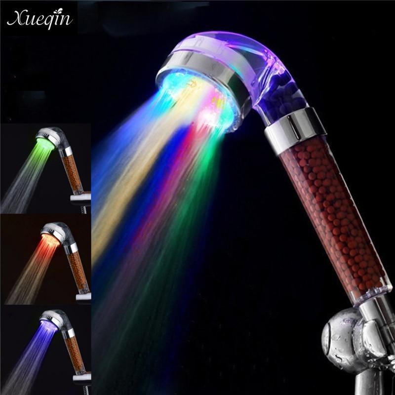 Xueqin Wassereinsparung Bunten LED-Licht Bad Duschkopf Anion SPA Hand Badezimmer Duschkopf Filter Düse