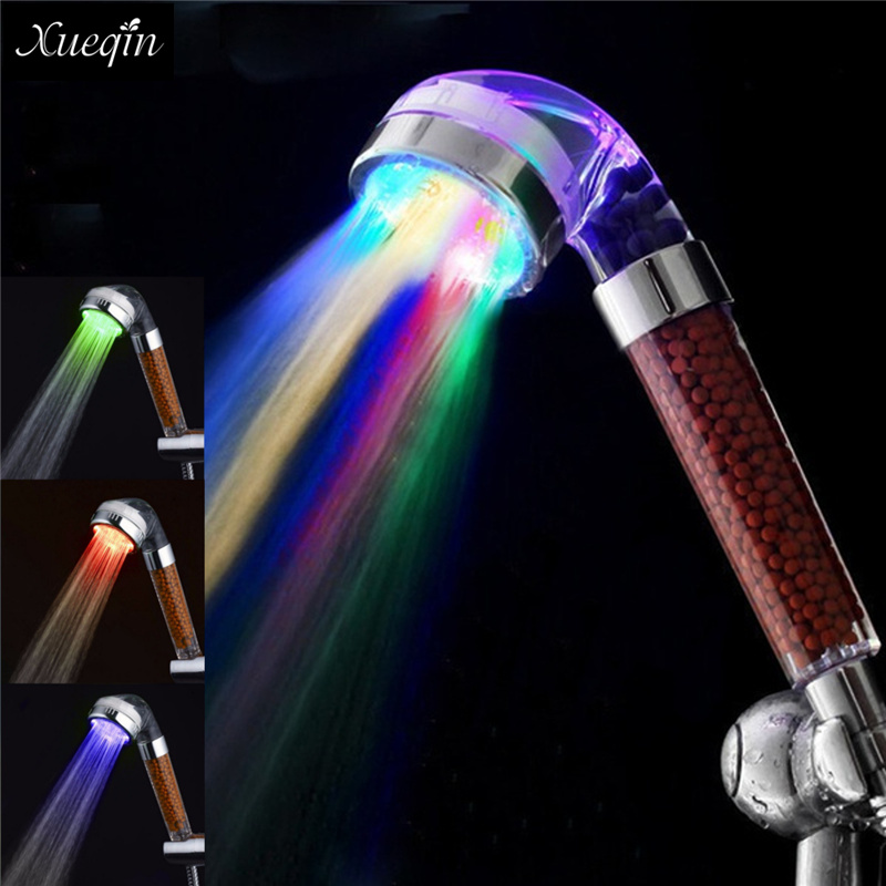 Xueqin Water Saving Colorful LED Light Bath Showerhead Anion SPA Hand Held Bathroom Shower Head Filter Nozzle