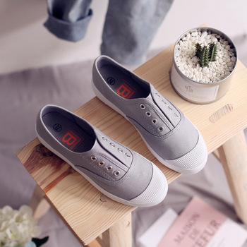 Women Canvas Shoes Elastic Band Lady Loafers Flat Heel Slipon All Match Girls White Shoes Sneakers Spring Autumn Tenis Femino 4
