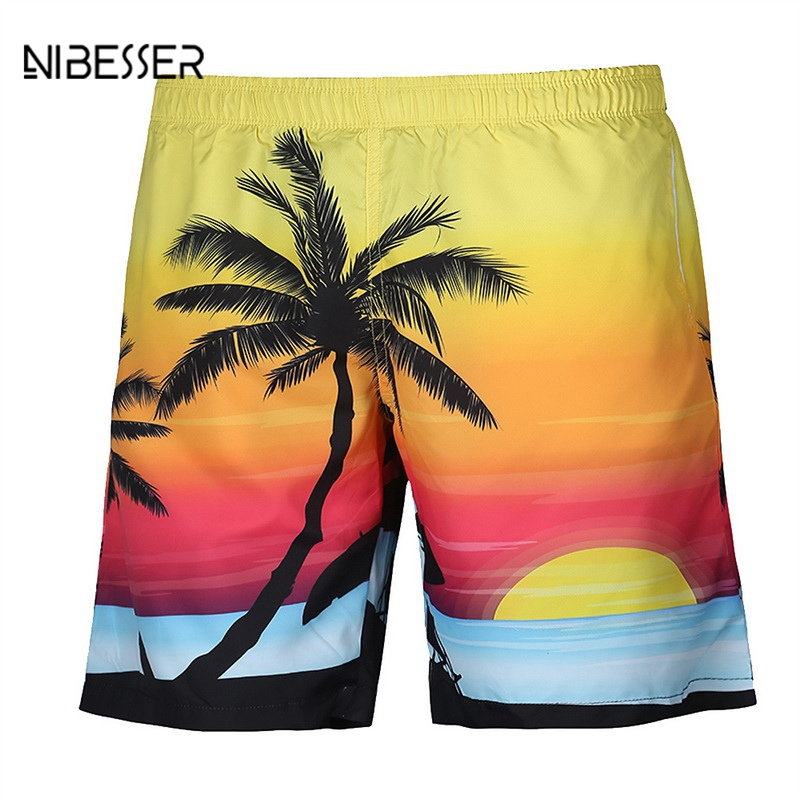 NIBESSER 2018 Quality 3D Print Cool Casual Short Pants Men Coconut Tree Shorts Summer Vocation Board Fashion Hit Loose Shorts