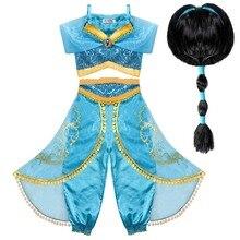 лучшая цена Jasmine Costume Kids with Wig Princess Jasmine Dress for Girls Princess Fancy Dress Hallowee CostumeCosplay Dress Up PartyOutfit