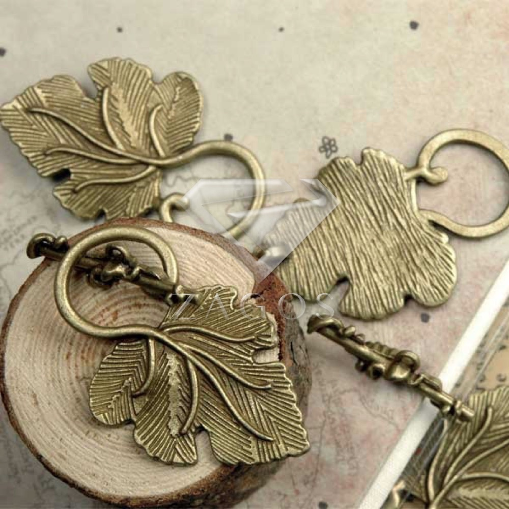 20Pcs Antitue Brass Tone Leaf Bar Ring Toggle Zinc Alloy Jewellry Making Findings Fit Bracelet Necklace Wholesale TS4179-4