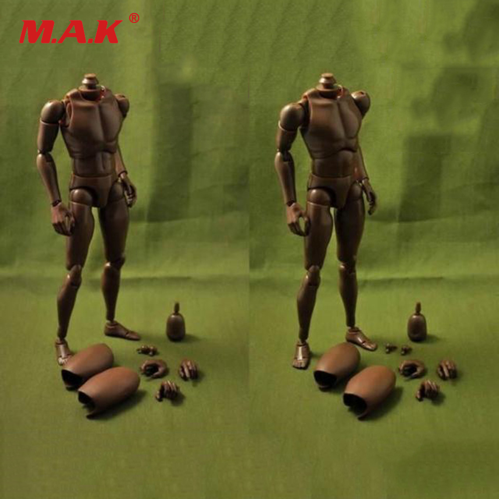 1:6 Scale Nude Body Black Skin Color Male African American Action Figure Narrow/Wide Shoulder Imitation HT Toys