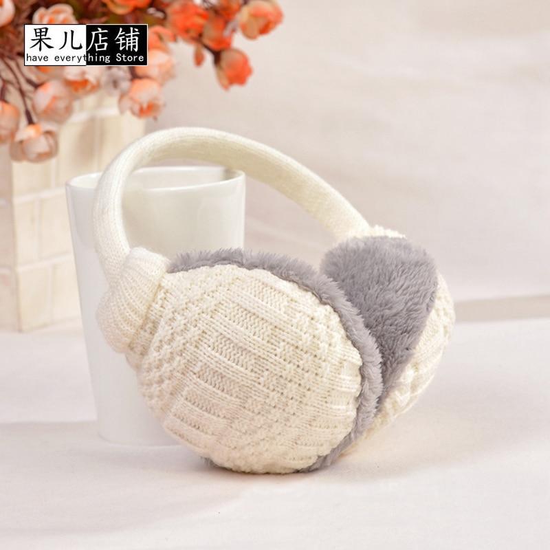 2017 Solid Knitted Thermal Earmuff Unisex Men Women Earmuffs Lovers Plush Ear Muffs Winter Warm Washable Knitted Earmuff