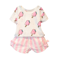 New Summer Kids Girls Clothing Set Ice Cream Printed T Shirt Striped Bow Shorts 2 Pcs