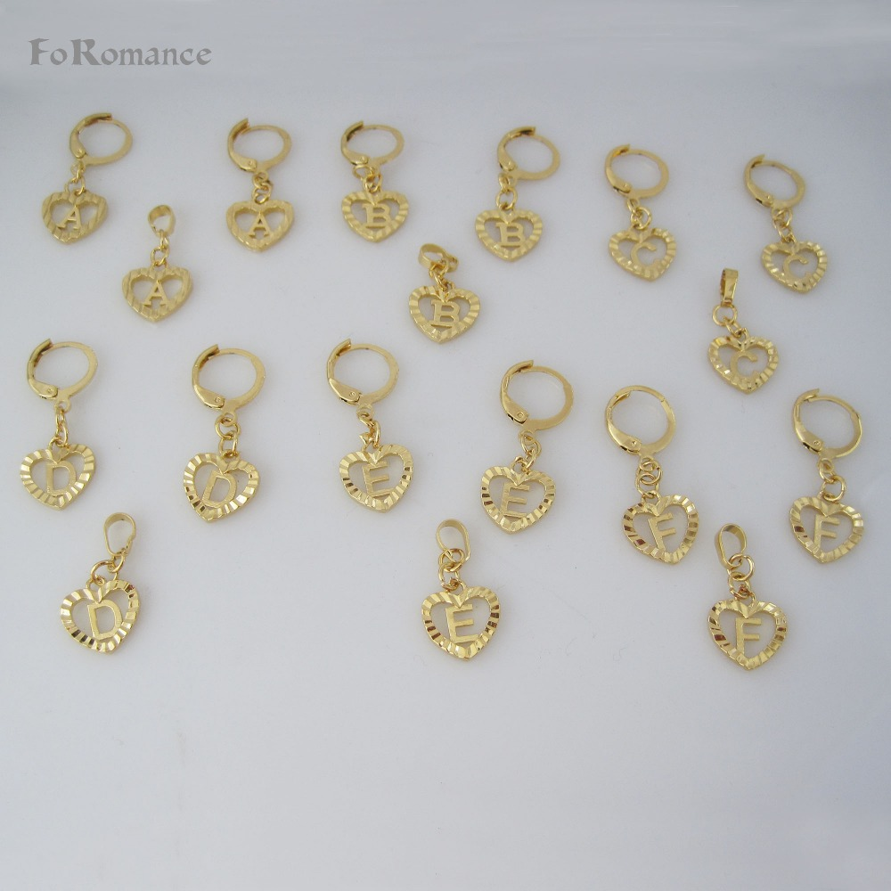 /FoRomance- HIGH QUALITY GOLD GP OVERLAY 26 LETTERS  FROM A TO  T HEART LINE CARVED PENDANT 18