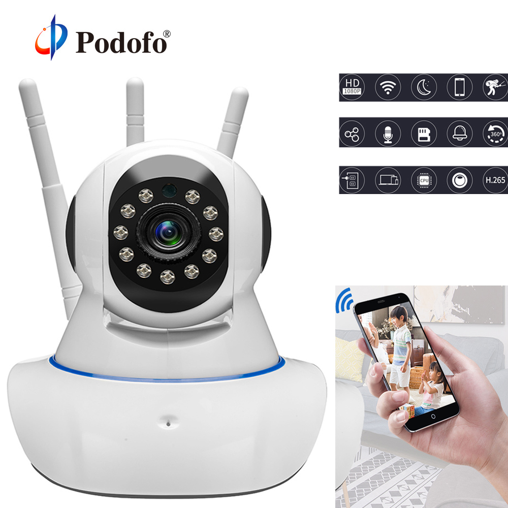 Podofo HD 720P Wifi Home Security IP Camera Two Way Audio Wireless Mini Surveillance Camera 1MP Night Vision CCTV Baby Monitor