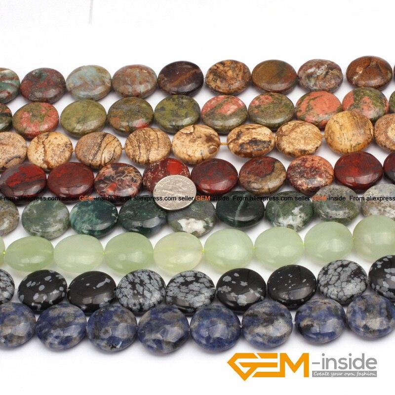 20mm Münze Perlen Naturstein Perlen :( Indische Achate Moos Achate, Sodalith Ozean Jaspers, Jade, bild Jaspers) Strang 15