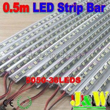 20pcs/lot, 5050  0.5m   50cm    12V LED Hard Strip Bar Light + Aluminium Alloy Shell Housing CE RoHS - free shipping