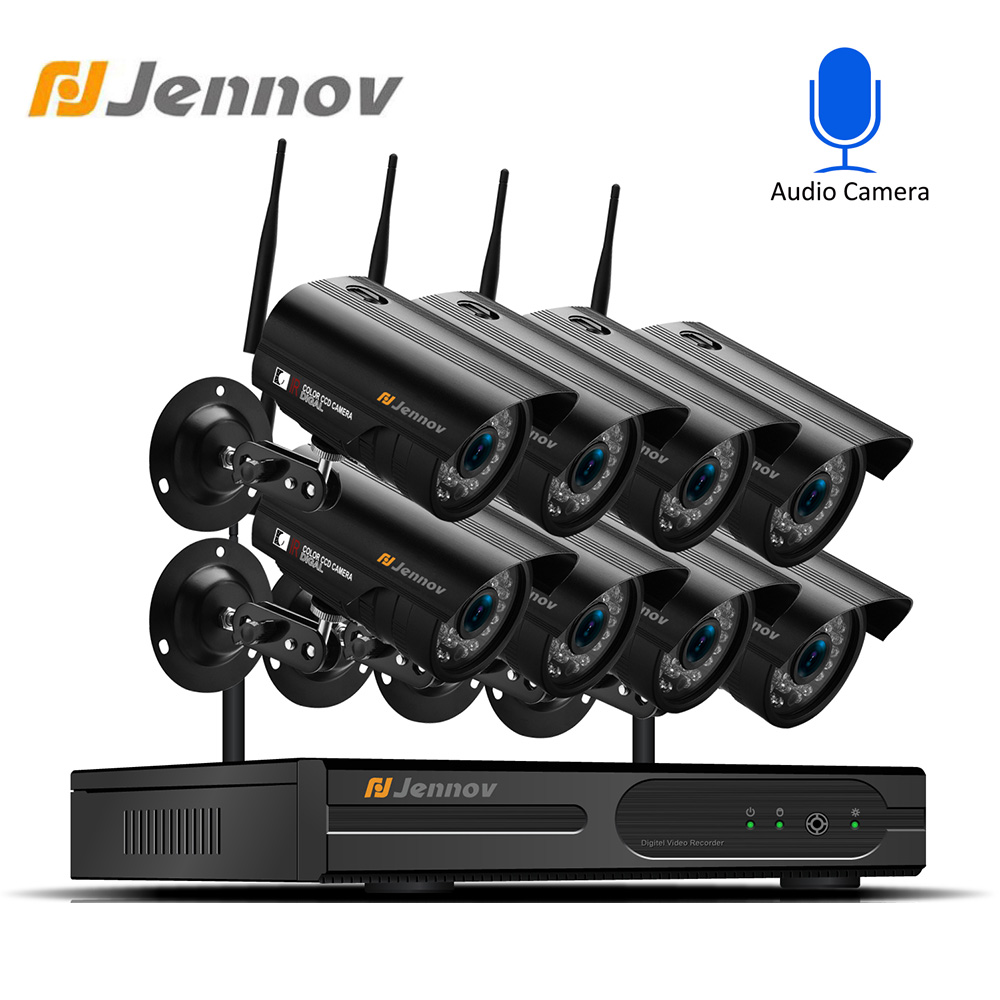 Jennov 8CH 1080P NVR 4PCS 960P Wireless Security CCTV System Outdoor IP Camera WIFI Waterproof Video Surveillance Kamera Ip Kit