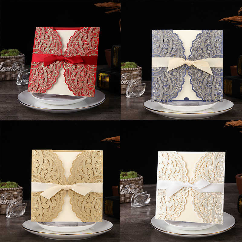 1pcs Sample 4 Color Laser Cut Wedding Invitations Card lace Elegant Greeting Card WIth Ribbon Envelopes Wedding Party Decoration