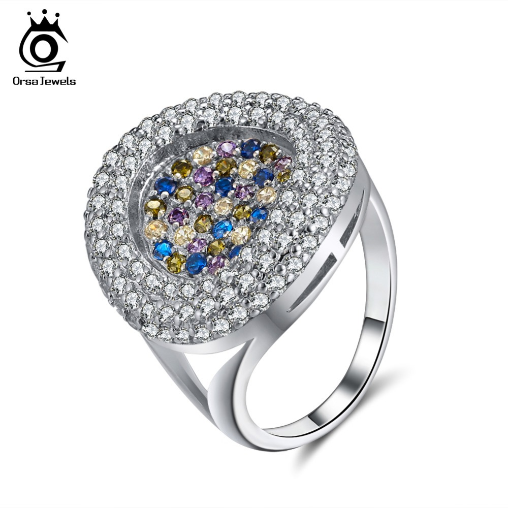 ORSA JEWELS Luxury Women Ring AAA Full Pave Colorful Dazzling CZ Female Wedding Party 2018 Fashion Trendy Girl Jewelry OR157 недорго, оригинальная цена