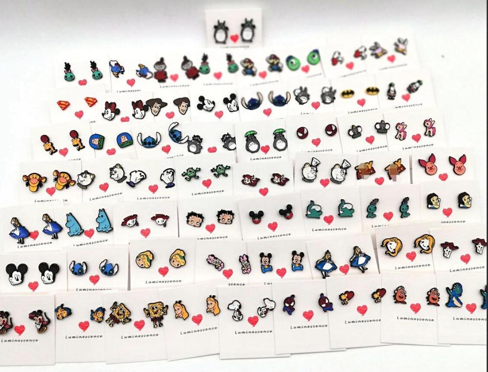 New 50 Pairs Arrival Cartoon Mixed princess stitch minnie mickey Anime Stud Earrings Female Gift Fashion
