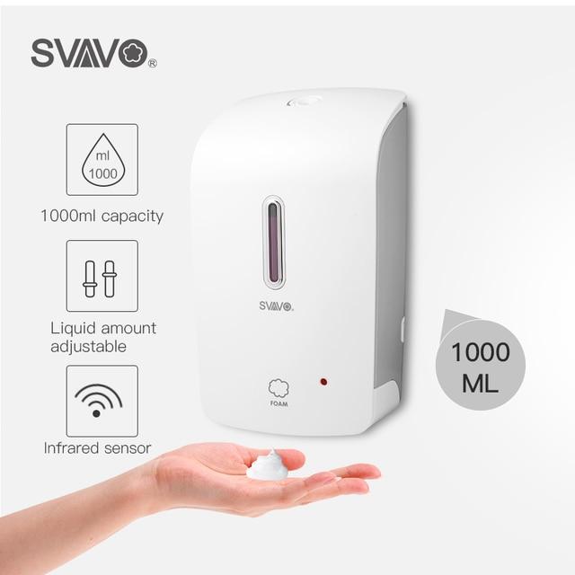 SVAVO 1000ml 자동 거품 비누 디스펜서 벽 마운트 적외선 스마트 센서 욕실 KitchenShower 샴푸 거품 비누 디스펜서