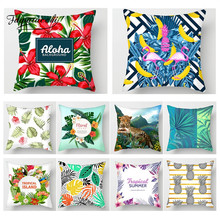 Fuwatacchi Tropical Plant Animal Paint Cushion Cover Flower Throw  Pillows for Home Sofa Chair Decorative