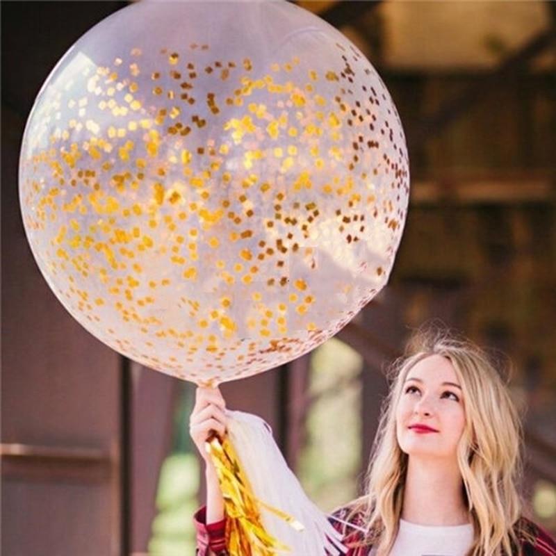 1 Pc 36 Zoll Hochzeit Dekorationen Große Gold Silber Konfetti Ballon Große Klar Latex Luftballons Party Dekoration Elegant Im Stil