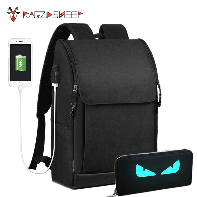 Raged Sheep Anti thief USB charging 17 inch laptop backpack Men ...