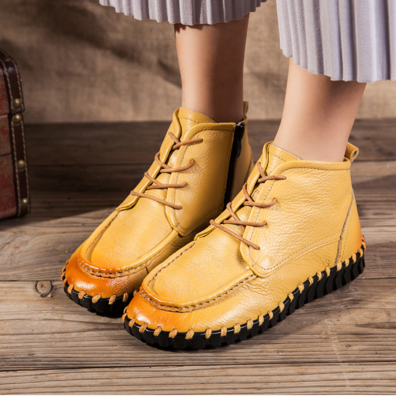 KHTAA 2018 New Women Ankle Boots Lace-Up Round Toe Flat Shoes Woman Solid Autumn Winter Soft Causal Fashion Footwear For Ladies