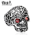 Beier new store 316L Stainless Steel ring top quality skull hollow vampire biker Fashion Jewelry BR8-242