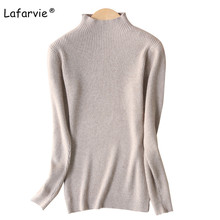 Lafarvie Slim Cashmere Blended Turtleneck Knitted Sweater Women Autumn Winter Female Pullover Fashion Warm Soft Knitting