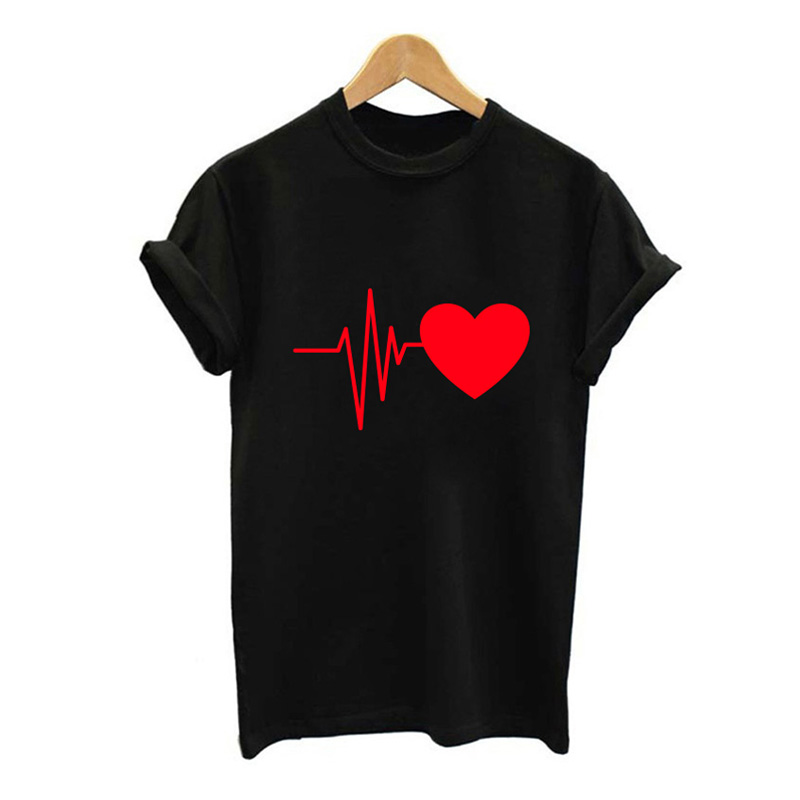 Fun New Tees Hipster Paw Heartbeat Lifeline <font><b>Dog</b></font> Cat Women <font><b>Tshirt</b></font> Halajuku Funny T Shirt for <font><b>Unisex</b></font> Lady Girl Top image