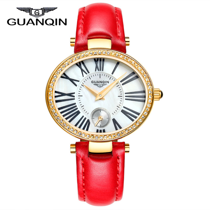 ФОТО 2015 new fashion Watches women Luxury Brand GUANQIN Genuine Leather Strap Casual Waterproof Watch Silver Ladies Dress Watches