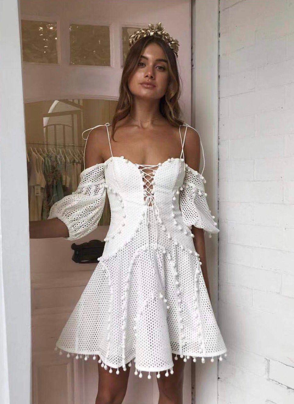 2019 새로운 도착 여자의 흰 드레스-에서드레스부터 여성 의류 의  그룹 1
