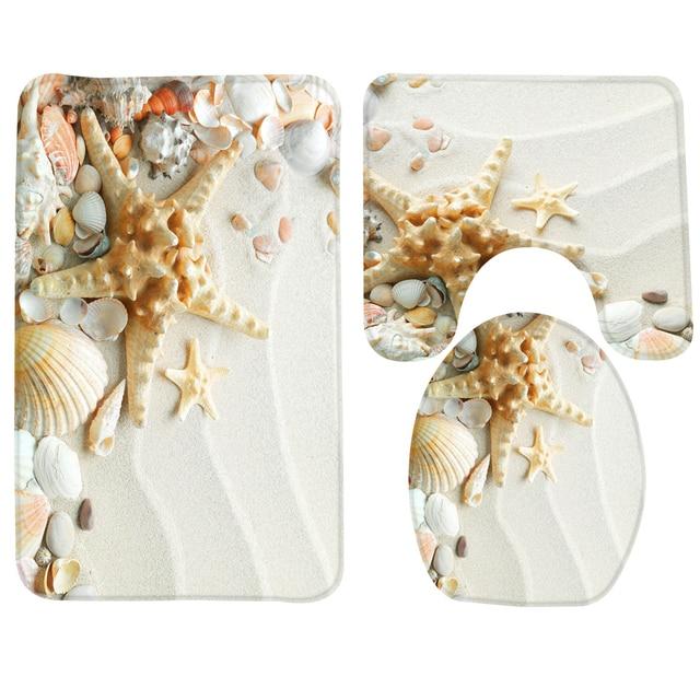 Bagno Mat Set 3 pz Beach Seashell Starfish Modello Tappetino Da Bagno Antiscivol