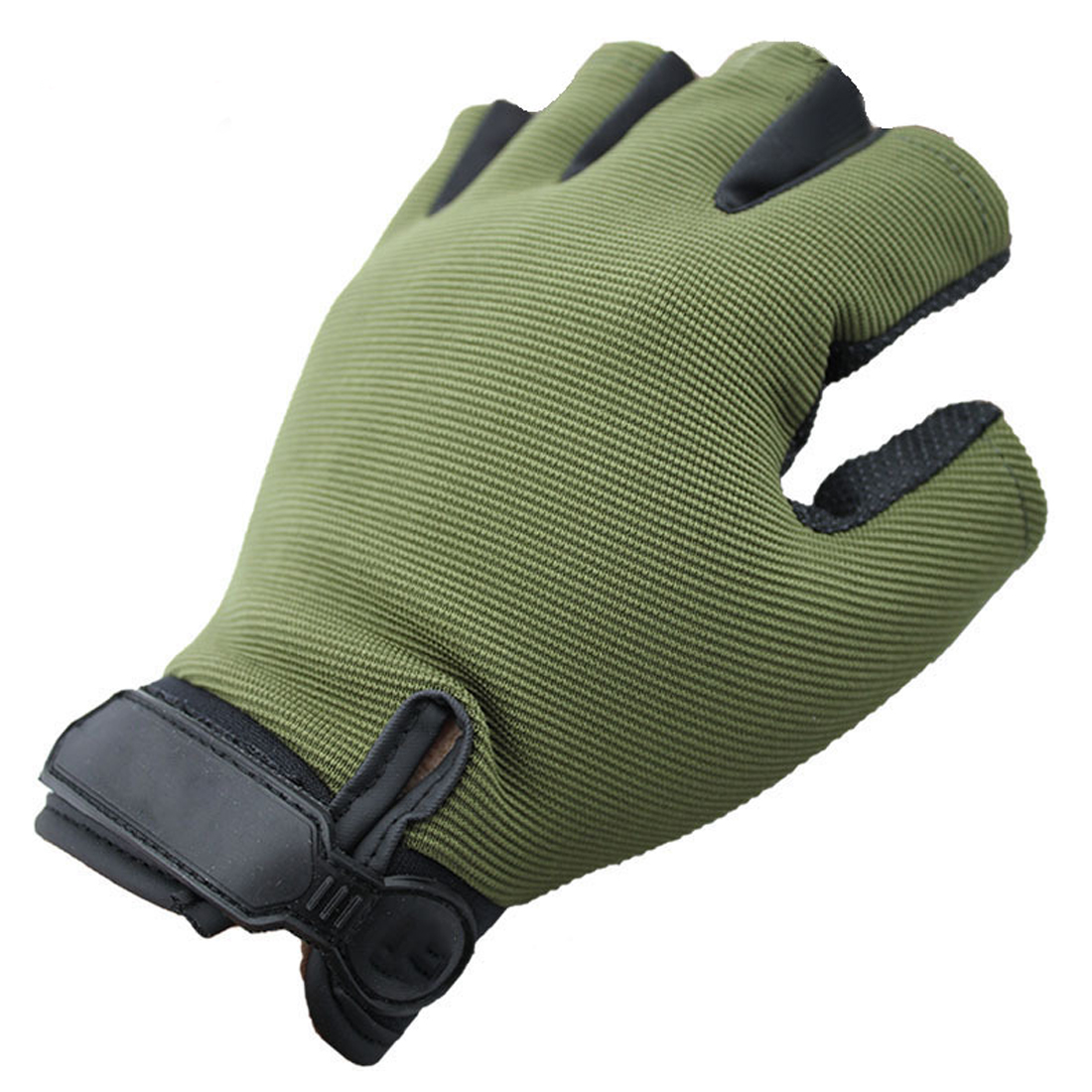 1 Pair Fishing Half Finger Gloves Short Nylon Breathable Gloves Protects Your Hands Pecas Helper Army Green XL Hot Slae
