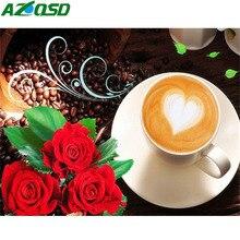 AZQSD Diamond Painting Flowers Needlework Diamond Embroidery Scenic Heart Picture Of Rhinestones Handicrafts Coffee Cup Gift