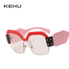 KEHU Marca de Design de Moda de Nova Rebites Quadro Semi-Sem Aro Óculos De  Sol Das Mulheres K9319 Colocações Praça Óculos óculos. fe293eb0ac