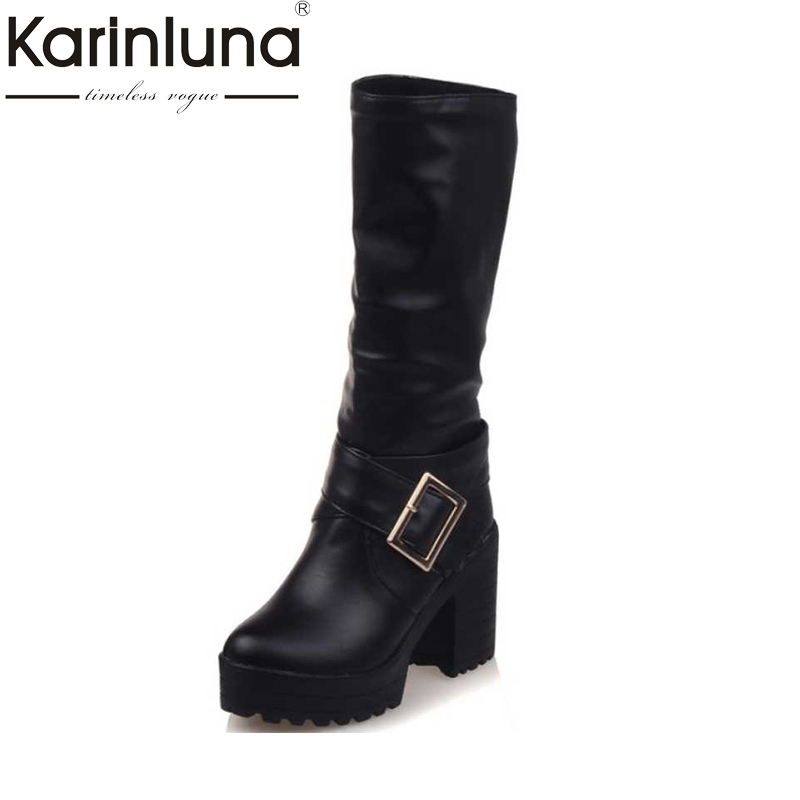 KarinLuna Big Size 34-43 mid-calf Boots Women Buckle Platform Shoes Women black brown Warm Square high Heels winter Boots цены онлайн