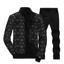 YDTOMM High Quality 2018 Autumn Two Piece Set Casual Sporting Suit Geometric Printed Zipper Jackets + Pants Men Tracksuit L-8XL